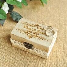 Заказная Выгравированная коробка для колец, коробка для свадебных колец, Персонализированная Коробка для свадебных колец