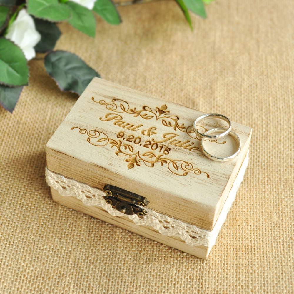 Custom Engraved Ring Box Wedding Ring Holder Box, Personalized Wedding Ring Bearer Box