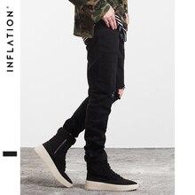 INFLATION Männer Mode Einfarbig Gerade Zerrissene Jeans 2016 Denim Overalls Biker Homme Jeans Seitlichem Reißverschluss Jeans Kostenloser Versand