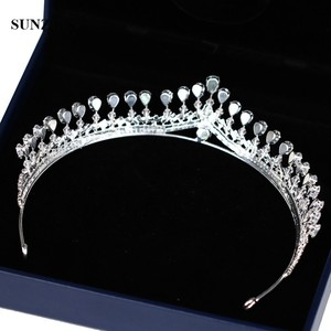 Image 3 - Новая страз свадебная тиара Блестящая серебряная принцесса короны для невесты свадебный головной аксессуар бесплатная доставка SQ0294