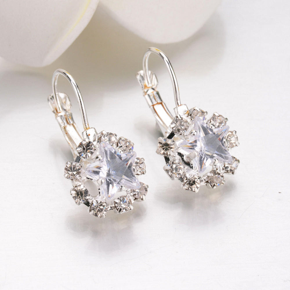 L H 2018 New Arrival Classic Geometric Luxurious Pentagram Crystal 6 Color Earring For Women Charm Statement New Fashion Jewelry in Hoop Earrings from Jewelry Accessories