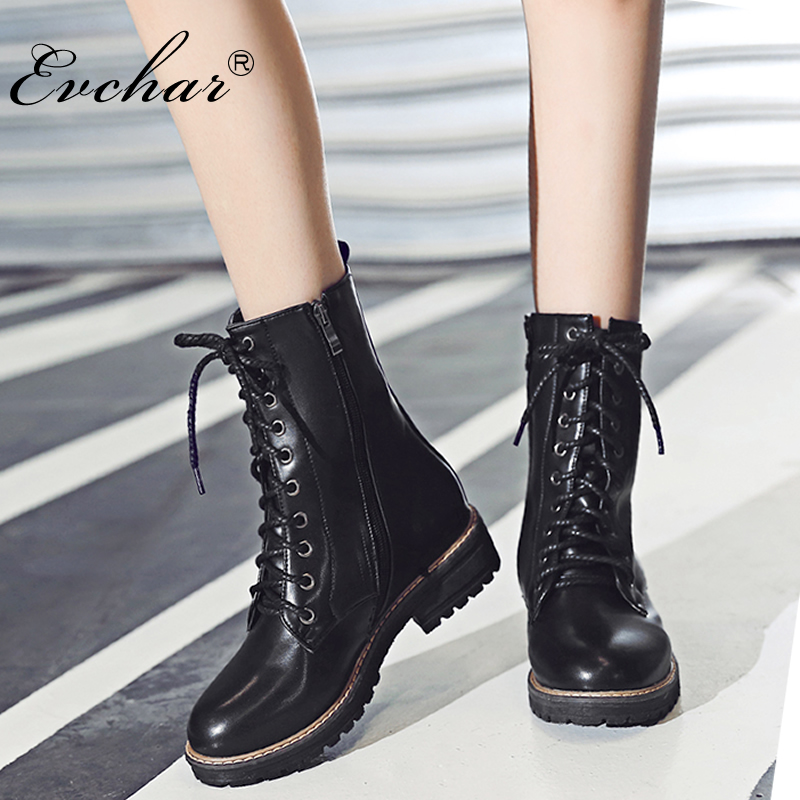 Brand New Womens Vintage autumn Winter Round Toe Lac- Up square Low Heel Military Riding Combat Martin Mid Calf Boots size 34-43 new arrival superstar genuine leather chelsea boots women round toe solid thick heel runway model nude zipper mid calf boots l63