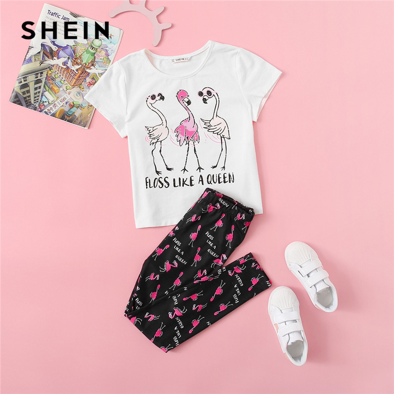 SHEIN Kiddie Letter And Cartoon Print Top And Pants Girls Preppy Two Piece Set 2019 Summer Outfit Children Clothes Suit For Girl 2017 best selling 2pcs flowers print bow cute cloth set children cloth suit baby girl clothing set top t shirt and pants