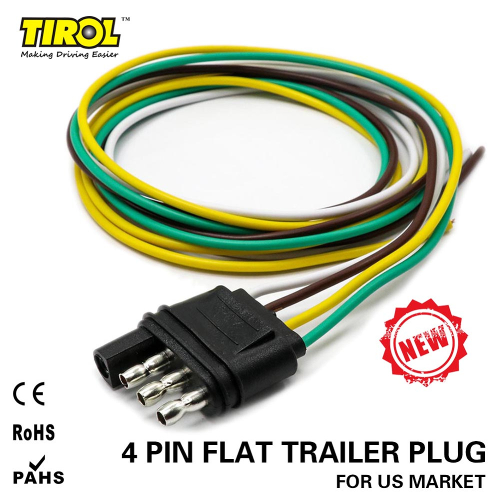 TIROL 4-Way Flat Trailer Wire Harness Extension Connector Plug with 36 inch Cable Length ...