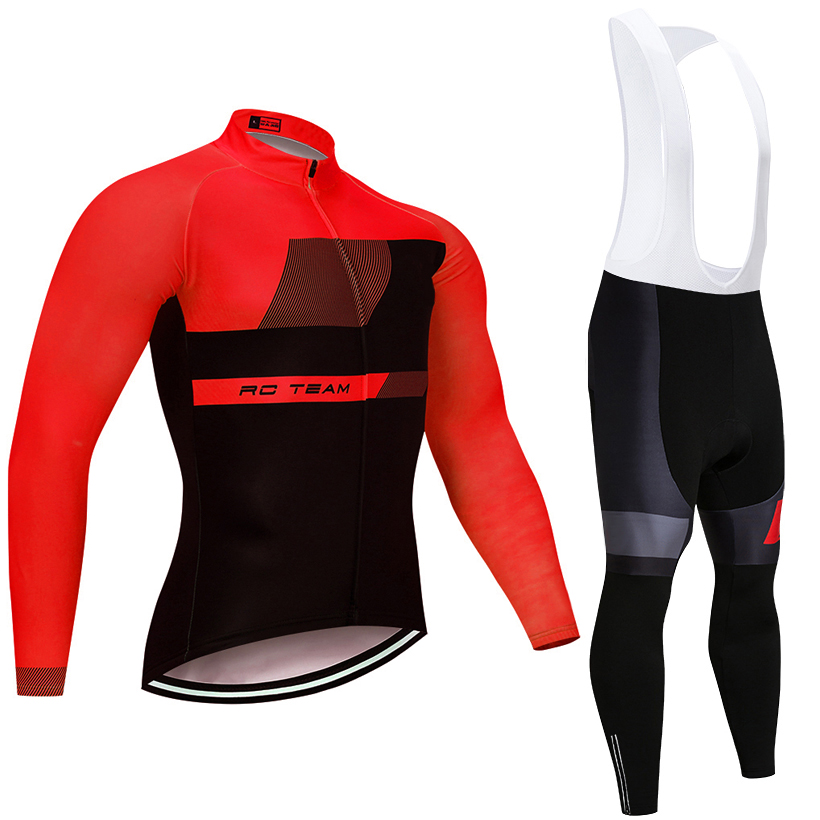 2018 invierno RACING equipo de Ciclismo jersey manga larga 9D gel pad traje de bicicleta MTB Ropa Ciclismo pro bicicleta Maillot culotte