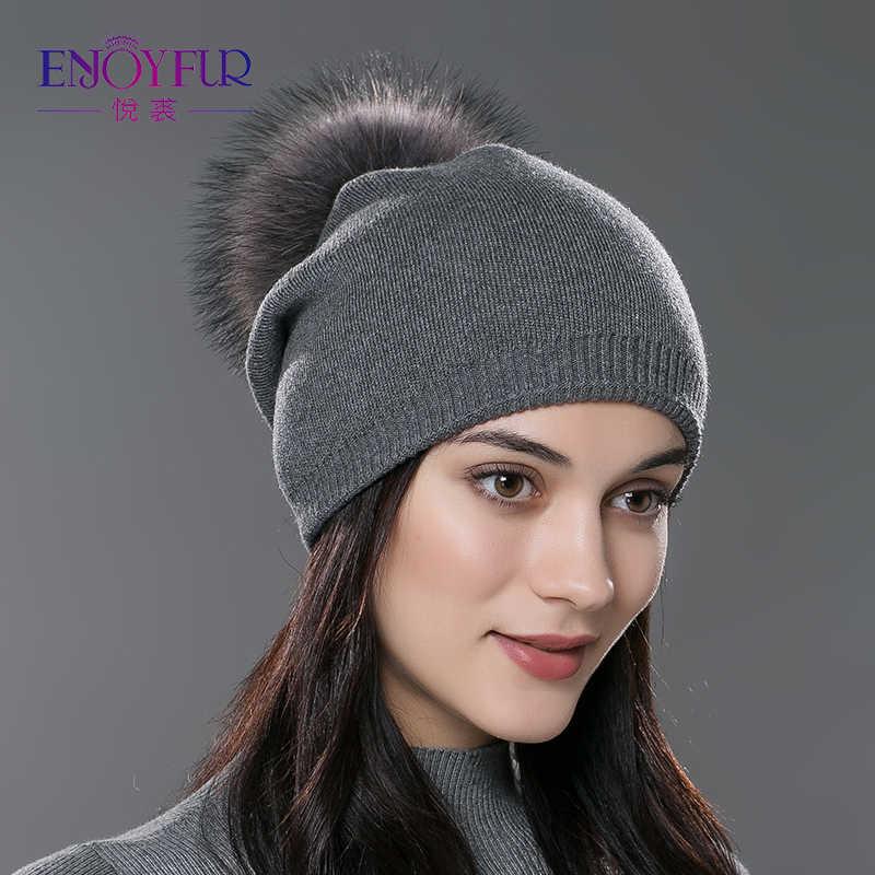 ENJOYFUR de invierno de las mujeres real piel pom sombreros de punto de  lana gruesa de 6f814d0d63a