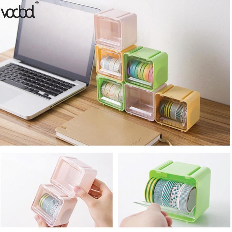Mini Plastic Japanese Washi Tape Storage Box Roll Msking Tape Table Holder Organizer Office Desktop Dispenser Supplies