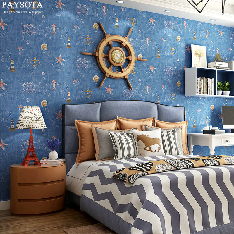 New Sale Papier Peint Paysota Mediterranean Style Non-woven Wallpaper Children Room Boy Girl Bedroom Background Wall Paper beibehang new children room wallpaper cartoon non woven striped wallpaper basketball football boy bedroom background wall paper