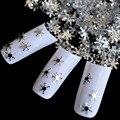 Nail Art DIY PET Glitter Sheet Silver Snow Flakes Snowflake Manicure Silver 3D Nail Art Decoration 1 bottle