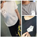 Middle Finger Cat Pocket Women Punk T-shirt Summer Style Harajuku T shirt Women Kawaii Tops Plus size 4XL CH148