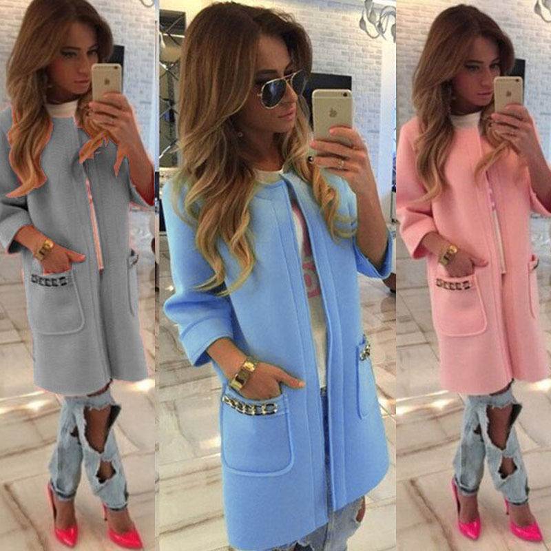 New 2020 Autumn Winter Ladies Long Sleeve Long Jackets Warm Womens Slim Coat Outwear Tops Solid Pink Purple Blue Gray White