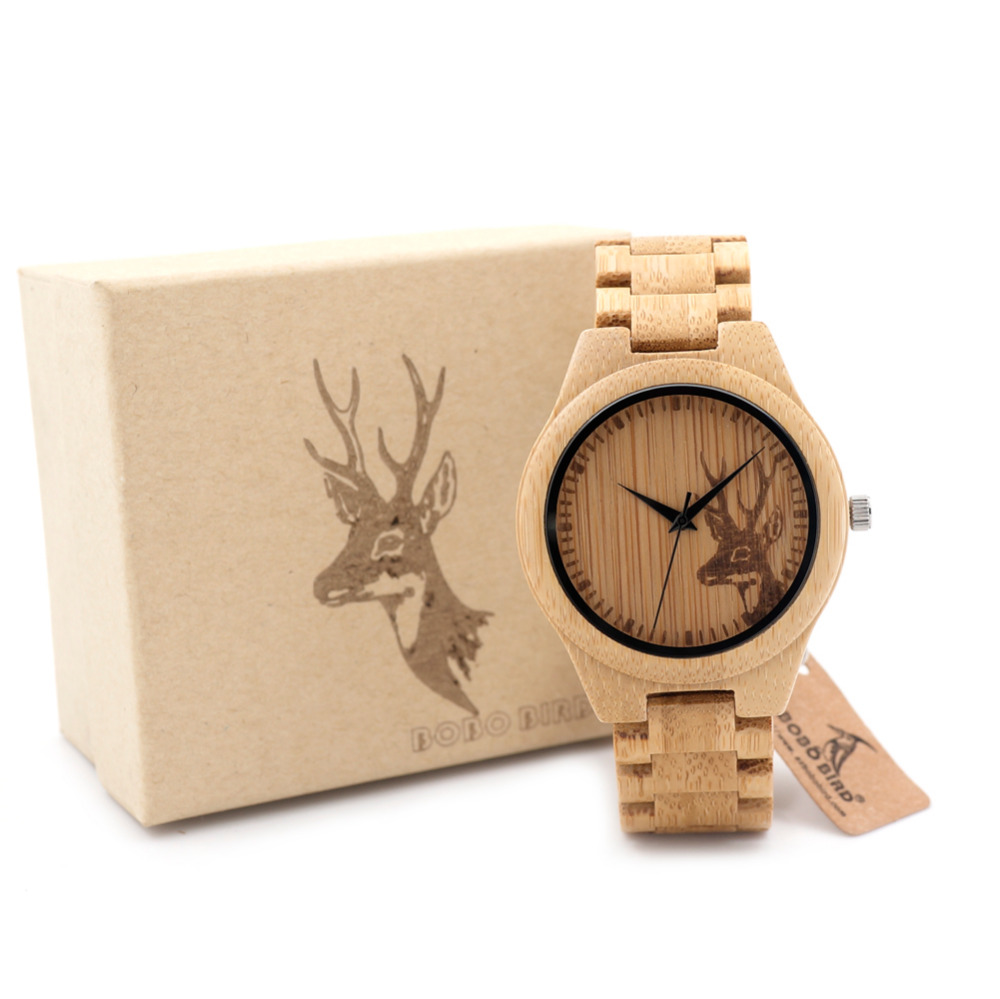 BOBO BIRD All Wood Bamboo Watches Top Brand Designer Men s Wooden Watches Deer Designer Quartz