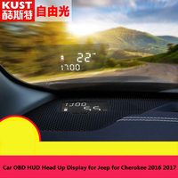 Kust Car styling OBD HUD Display for Jeep for Cherokee 2016 Hidden Style HUD Head Up Display for Cherokee 2017 Car Accessories