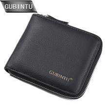 New arrival Men Wallets 100% Genuine Leather Zipper Around Wallet Card Holder Coin Purse