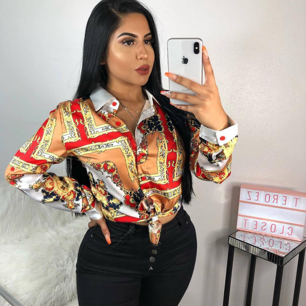 2018 New Autumn Women   Blouses     Shirts   Long Sleeve Button Down Collar Riches Printed   Shirt     Blouse   Women Tops