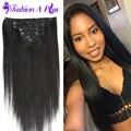 6A peruana cabelo virgem reta peruano extensão do cabelo grampo em extensões do cabelo 7 pcs cabelo humano Weave Bundles muito suave