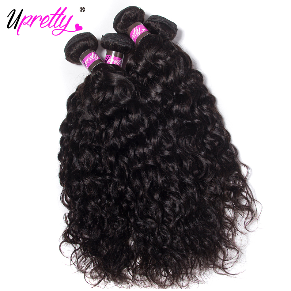 Upretty Hair Raw Indian Hair Weave Bundles Water Wave Natural Color Human Hair 4 Bundles 10- 28 inch 100% Remy Hair Extensions