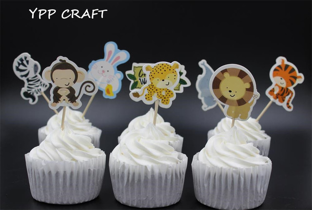 YPP CRAFT Wild Animal Party cupcake toppers picks decoration for ...