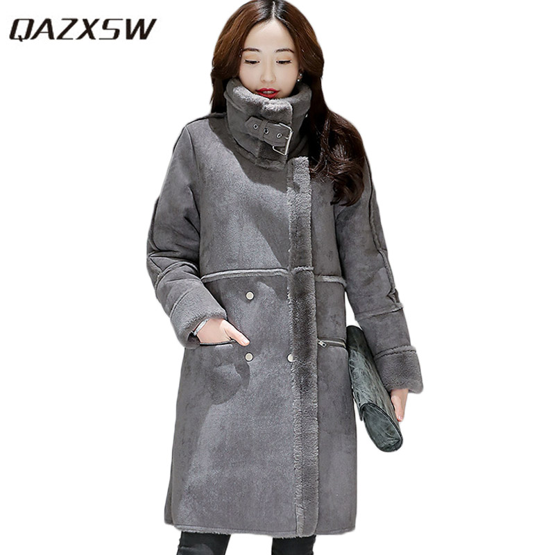 QAZXSW 2017 New Winter Cotton Coat Women Long Parkas Thick Padded Velvet Lamb Slim Winter Jacket Warm Women Suede Jackets HB325 qazxsw 2017 new winter cotton coat women padded jacket hooded long parkas for girl thick warm winter coat jaqueta feminina hb274