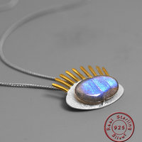 Amxiu Personalized Unique Eyelash Pendant Necklace Natural Labradorite Jewelry 925 Silver Necklace For Women Girls Special Gift