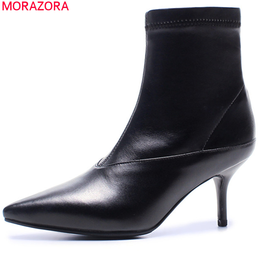 MORAZORA fashion autumn winter new arrive women boots pointed toe genuine leather boots zipper thin heel cow leather ankle boots czrbt genuine leather boots women fashion pointed toe thick heel high heel boots spring autumn cow leather women chelsea boots