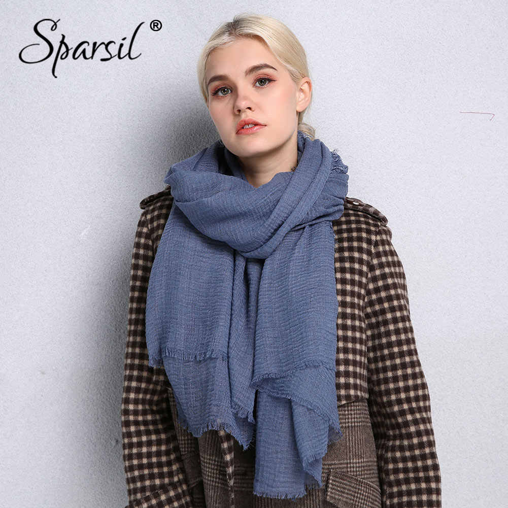 Sparsil Spring New Cotton Women Scarf Solid Color Crumple Retro Scarves With Short Tassels 180cm Big Shawls Muslim Female Hijabs