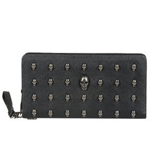 лучшая цена Men Leather Bag Skull Wallet Personality Clutch Bags Rivets PU Leather Purse Quality Zipper Card Holder Punk Wallets