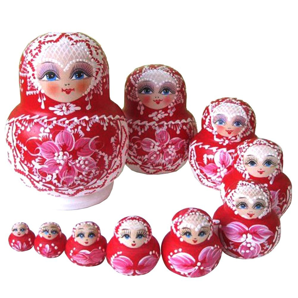 10PCS Wooden Russian Nesting Dolls Braid Girl Traditional Matryoshka Dolls red ceramic 3 piece nesting