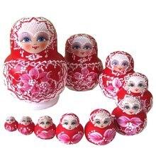 10PCS Wooden Russian Nesting Dolls Braid Girl Traditional Matryoshka Dolls red