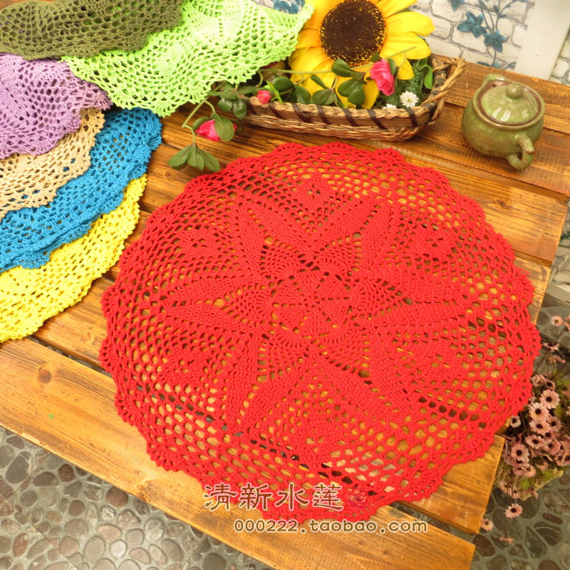 Free Shipping Cotton Crochet 45 Cm Round Lace Tablecloth For Wedding Decor  For Coffee Table Cover Towel As Innovative Item