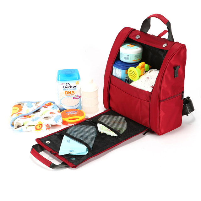 Multifunción de Color Rojo Bolsas de Pañales de Alta Capacidad Bolsas de Bebé para la Mamá YL118