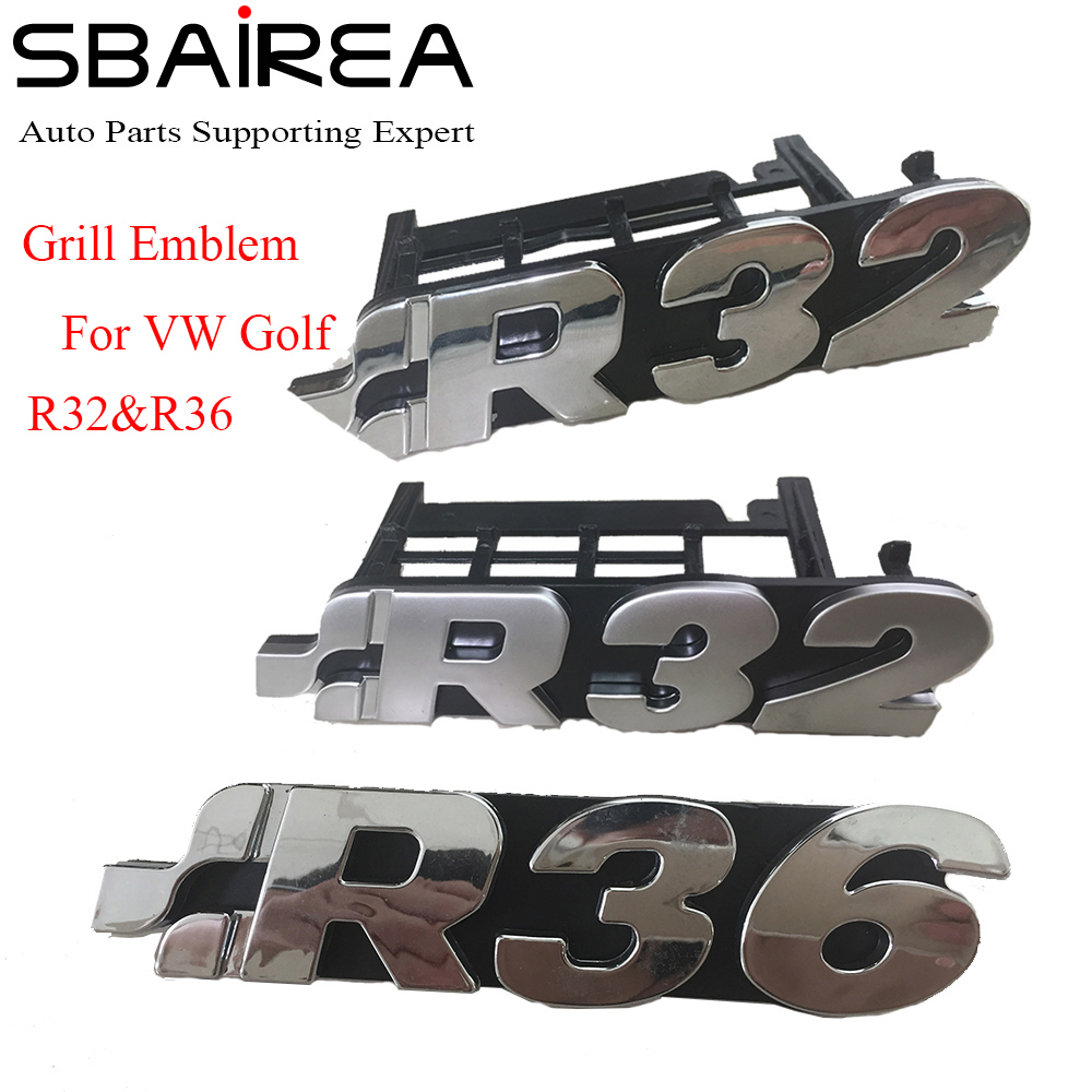 SBAIREA R32 R36 Car 3D Sticker for VW Golf R32 Front Grill Badge Emblem R32 Boot Logo Sticker R36 Racing Grill Emblem glc coupe решетка радиатора amg