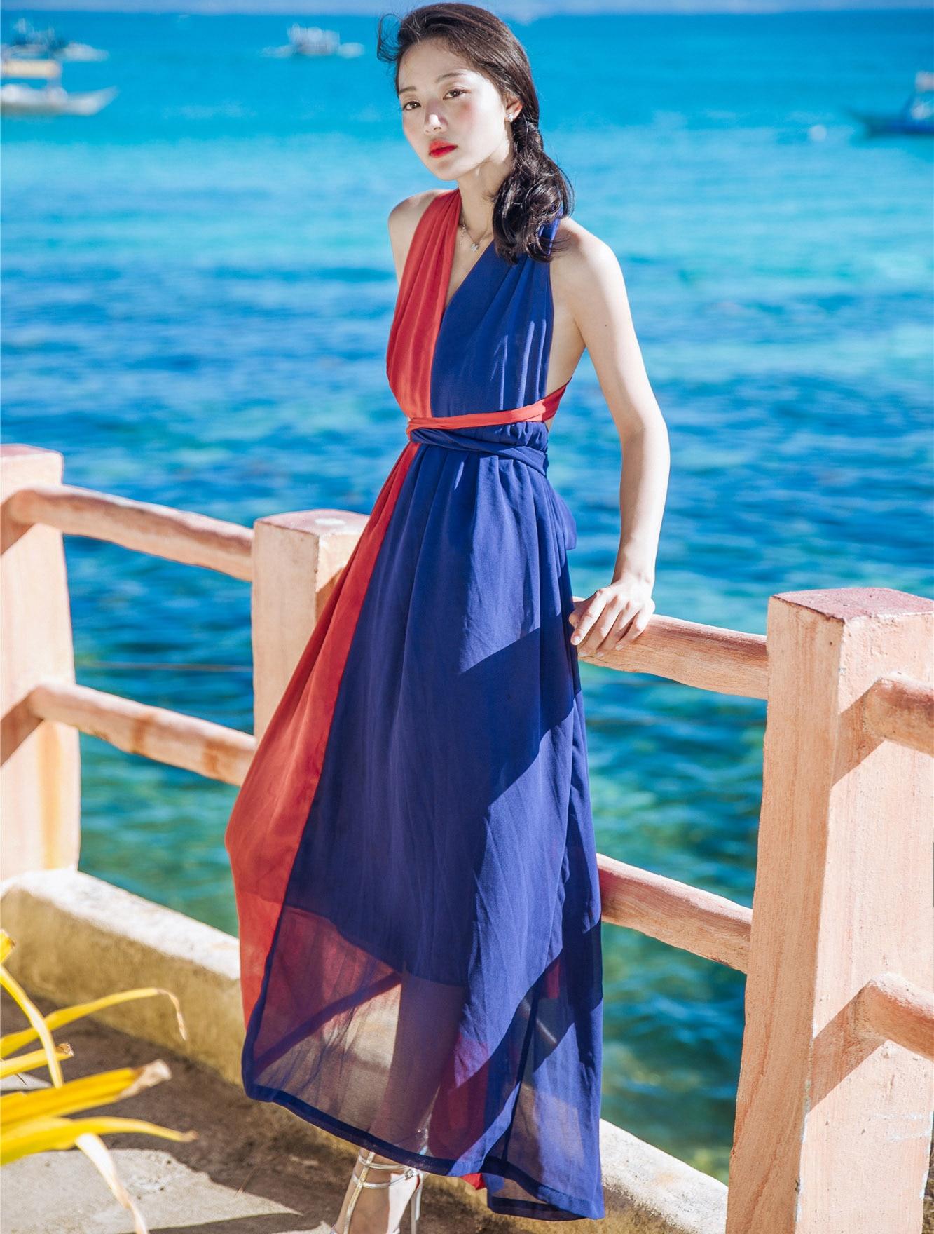 2017 musim panas wanita pantai gaun panjang gaun seksi v neck tanpa lengan merah biru Patchwork Backless Bohemin