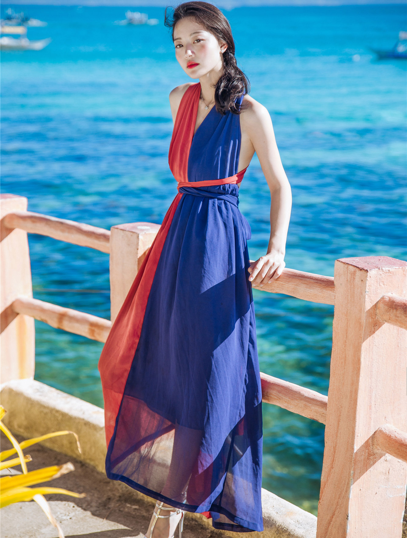 2017 summer women beach long dress sexy v-neck sleeveless red blue Patchwork Backless Bohemin dress