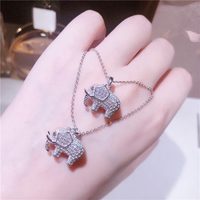 2018 Minimalist S925 Sterling Silver Cute Elephant Necklace Micro Stylized Zircon Sweet Cute Wild Clavicle Chains Women Accessor