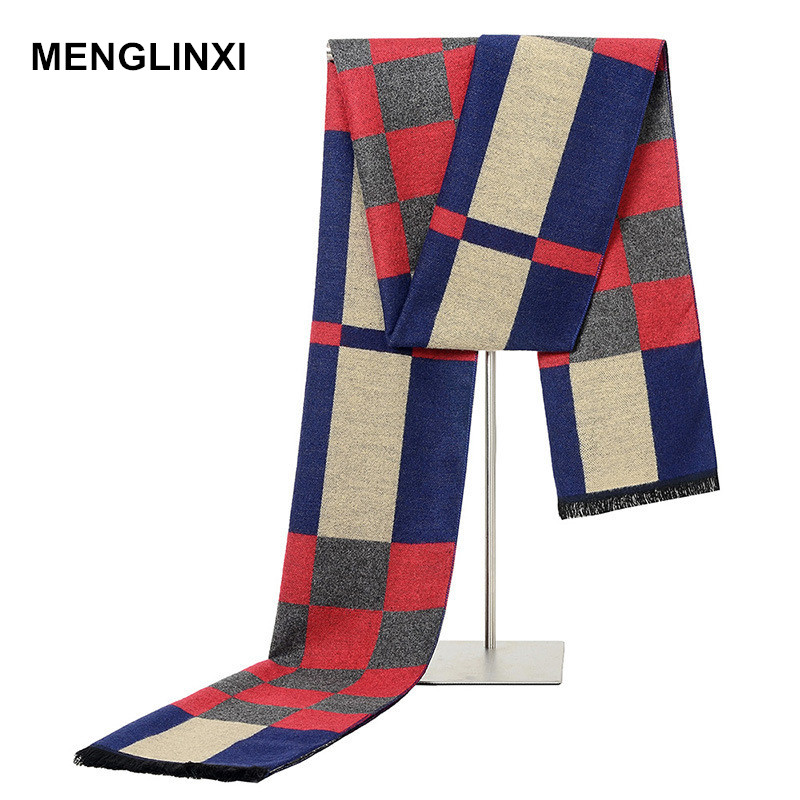 MENGLINXI Luxury Brand Winter Cashmere Plaid Scarf 2019 Fashion Design Warm Silk Shawl Scarves Male High Quality Men Scarfs