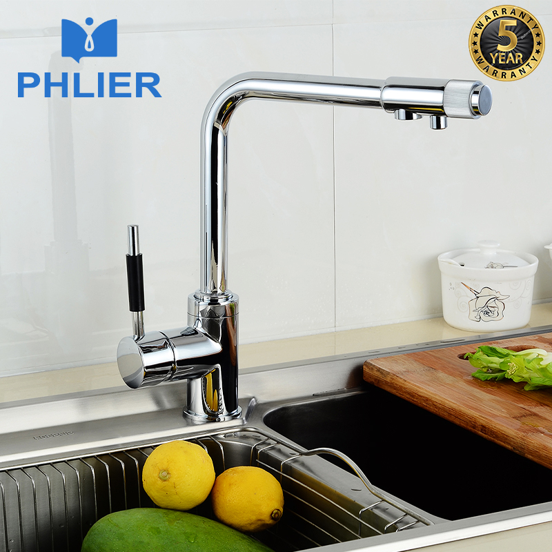 PHLIER Solid Brass Chrome Water Kitchen Faucets Mixer Double Function Drinking Water Filter Faucet Cold Hot Kitchen Tap Mixer tapcet brass kitchen cold and hot water mixer tap basin faucets chrome polished single hole water tap kitchen faucet