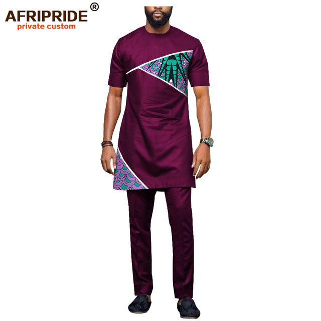 2018 latest africa style casual pants set for men AFRIPRIDE short sleeve long top+full length pants men's cotton set A1816002