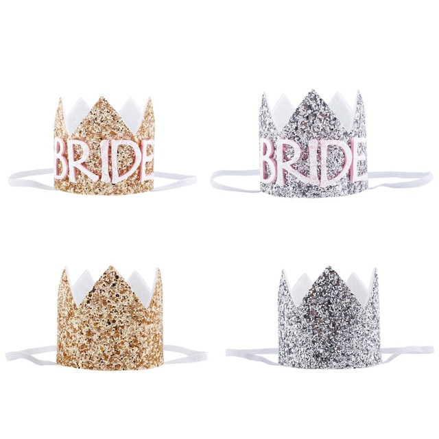 802e8acd722 Gold Silver Glitter BRIDE Hats Cap Crown Headband Hen Night Party Bridal  Shower Bachelorette Party Wedding Party Supplies
