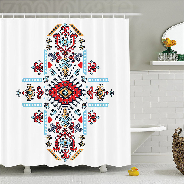 Geometric Decor Shower Curtain Mexican And African Ethnic Tribal Ornamental Folkloric Unique Vintage Pattern Bathroom