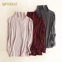נשי חולצת משי אמיתי משי לסרוג כפול מעובה קפלי צוואר צב שרוול ארוך חולצת טריקו 145 גרם\מטר