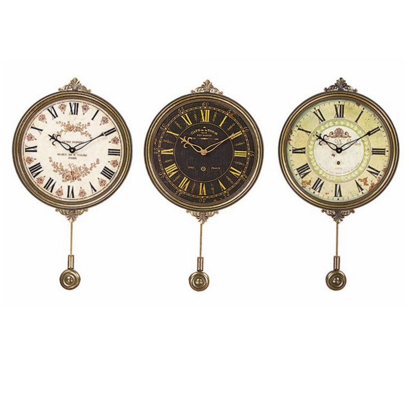 Wall clock vintage design with metal pendulum wall decorative clock in wall clocks from home - Antique clock designs for your home ...