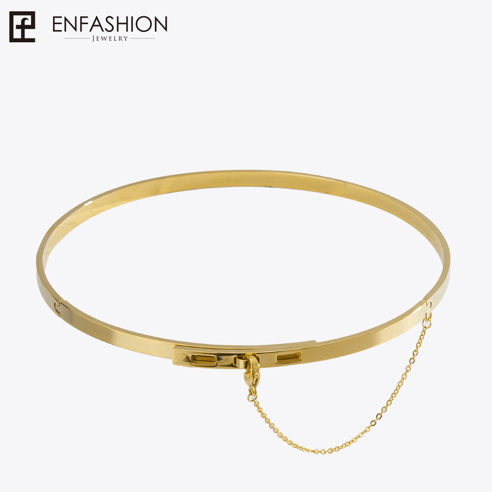 Enfashion cadena de seguridad gargantillas collares colgantes de oro Color collar de acero inoxidable para gargantilla collar de la joyería de las mujeres Collier