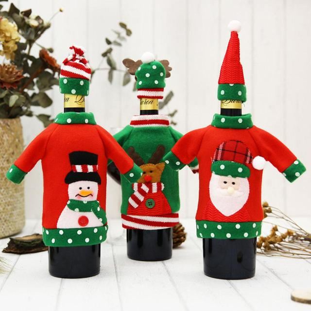 Wine Christmas Sweater.Us 2 17 30 Off Christmas Sweater Wine Bottle Cover Ugly Wine Cover Santa Christmas Decorations For Home In Pendant Drop Ornaments From Home