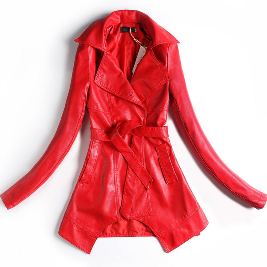 new Double-breasted slim coat belt Womens Long Wool PU   Leather   Coat Windbreaker plus size