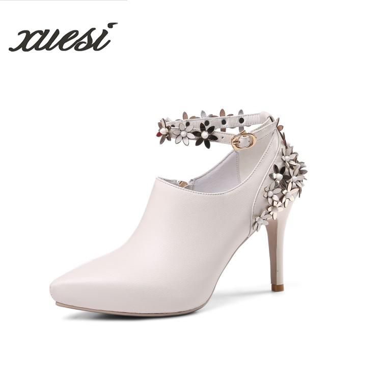 2018New Fashion High Heels Fine With Leather Word Buckle Flowers White Deep Mouth Pointed Shoes Women Shoes High Heel Sexy Pumps