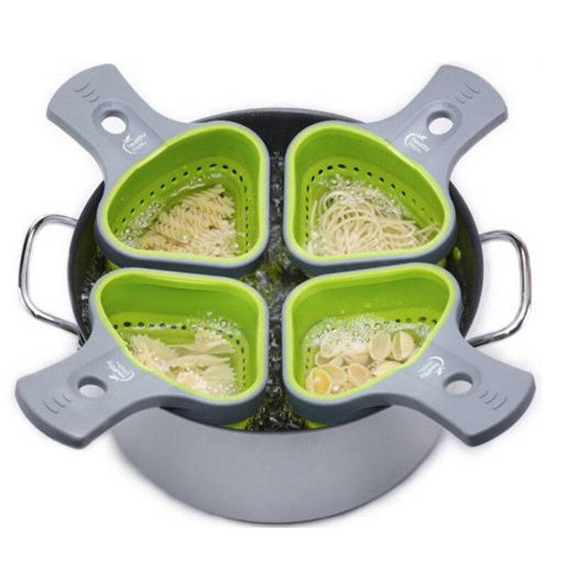 折叠式有机硅考兰德滤网厨房滤网意大利面网炊具篮子科兰德厨房支撑工具KC1695(1)