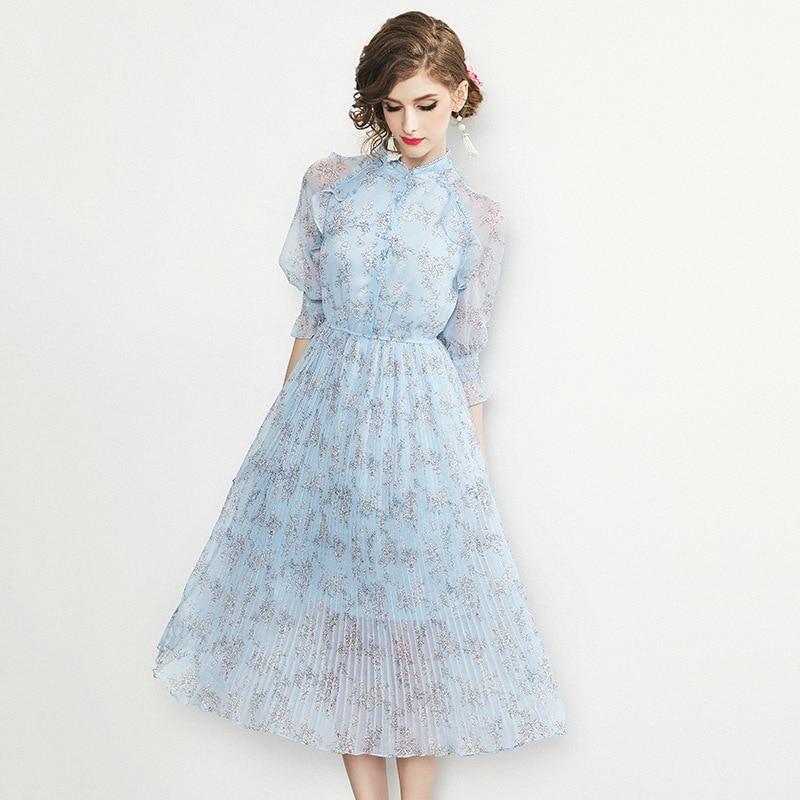 ladies print flower dress 2019 New High quality Spring summer Sexy Club Chiffon Ruffles Dress Women