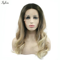 Sylvia Natural Hairline Dark Roots Ombre Wig Handmade Synthetic Lace Front Wigs Blonde Wig High Temperature Fiber For Women Wigs