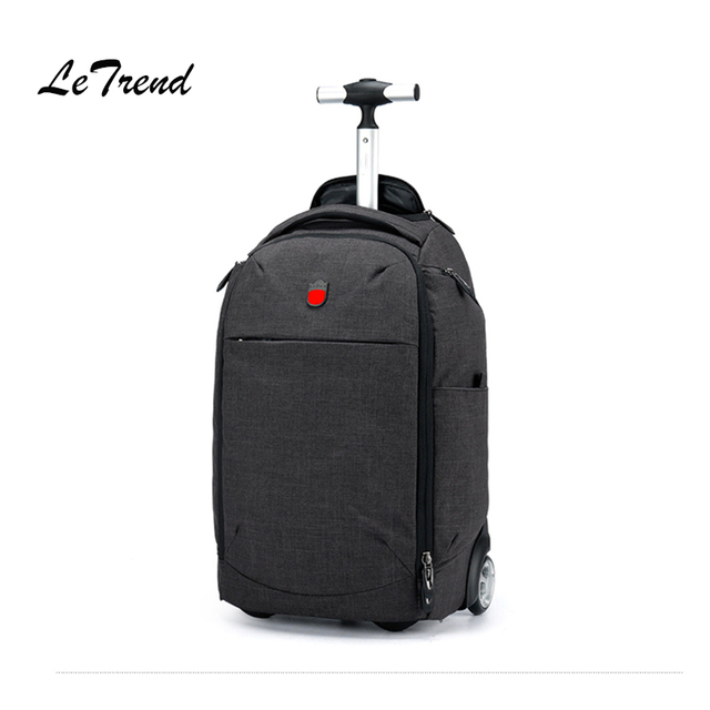 Letrend Men Business Light Travel Duffle Oxford Backpack Rolling Luggage Casters Trolley Carry On Suitcase Wheels School Bag